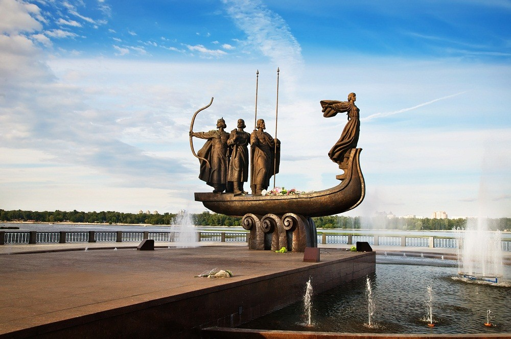 Famous monument to mythical founders of Kiev.Ukraine